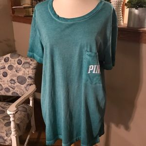 Victoria's Secret Pink tee shirt T Large L green